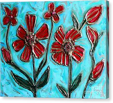 Red Pinwheel Flowers Canvas Print