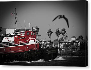 Canvas Print featuring the photograph Red Pop Tugboat by Bartz Johnson