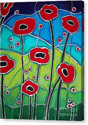 Red Poppies 1 Canvas Print by Cynthia Snyder