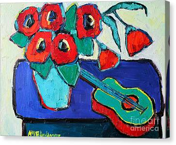 Red Poppies And Guitar  Canvas Print by Ana Maria Edulescu