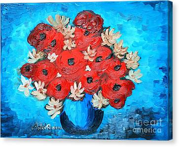 Red Poppies And White Daisies Canvas Print by Ramona Matei
