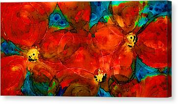 Red Poppies By Sharon Cummigns Canvas Print by William Patrick