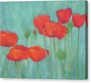 Red Poppies Colorful Poppy Flowers Original Art Floral Garden  Canvas Print