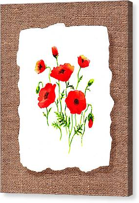 Red Poppies Decorative Collage Canvas Print by Irina Sztukowski