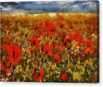 Canvas Print featuring the painting Red Poppies by Georgi Dimitrov