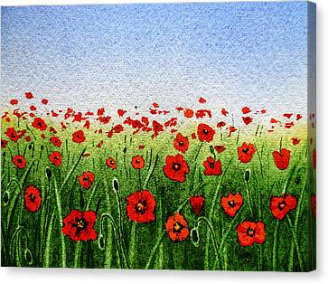 Red Poppies Green Field And A Blue Blue Sky Canvas Print by Irina Sztukowski