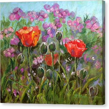 Canvas Print featuring the pastel Red Poppies by Julie Maas