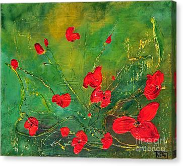 Canvas Print featuring the painting Red Poppies by Teresa Wegrzyn