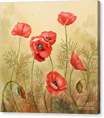Red Poppies Three Canvas Print by Joan A Hamilton