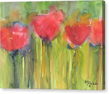 Red Poppy Elegance Canvas Print by Kathleen McElwaine
