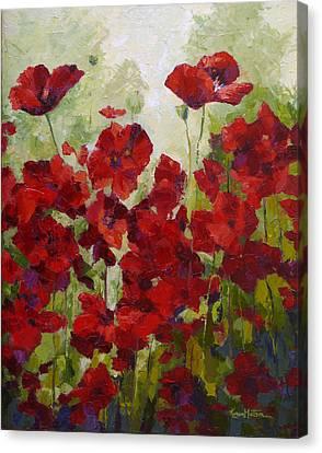 Red Poppy Field Canvas Print by Karen Mattson