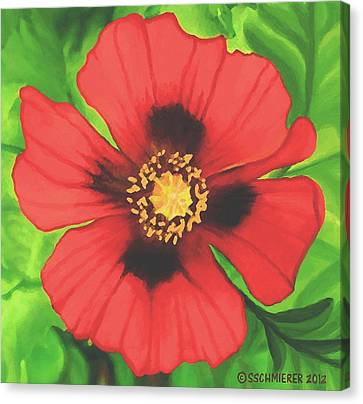 Canvas Print featuring the painting Red Poppy by Sophia Schmierer
