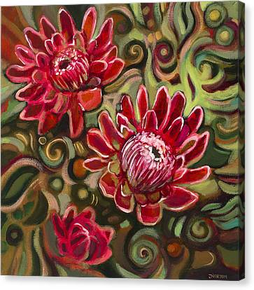 Red Proteas Canvas Print by Jen Norton