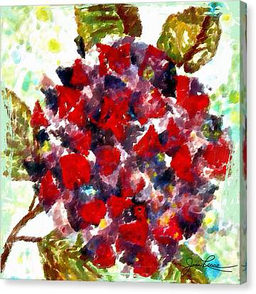 Canvas Print featuring the painting Red Purple Flower by Joan Reese
