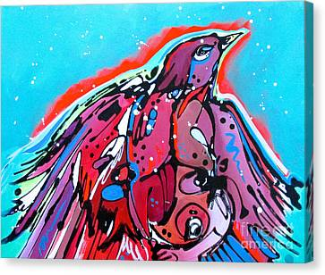Canvas Print featuring the painting Red Raven by Nicole Gaitan