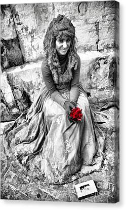 Sicily Canvas Print - Red Red Rose In Black And White by David Smith