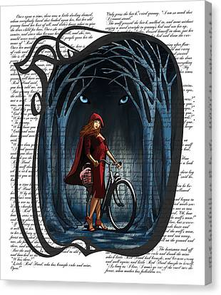 Red Riding Hood With Text Canvas Print by Sassan Filsoof