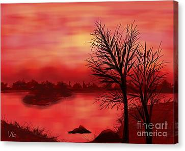 Red River Canvas Print by Judy Via-Wolff