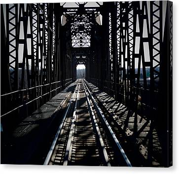Canvas Print featuring the photograph Red River Rail Road Crossing by Diana Mary Sharpton