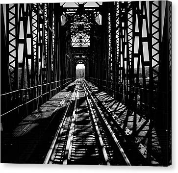 Red River Rail Road Crossing In Bw Canvas Print by Diana Mary Sharpton