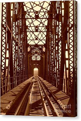 Canvas Print featuring the photograph Red River Train Bridge #1 by Robert ONeil