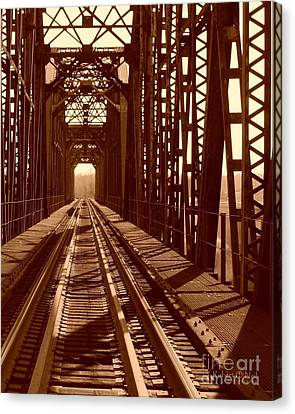 Canvas Print featuring the photograph Red River Train Bridge #2 by Robert ONeil