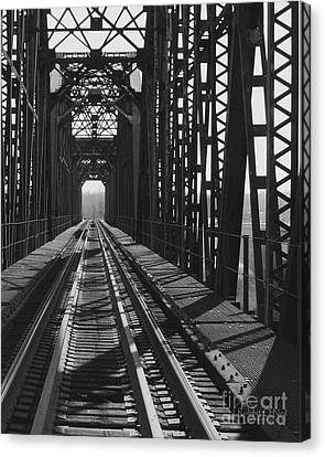 Canvas Print featuring the photograph Red River Train Bridge #3 by Robert ONeil