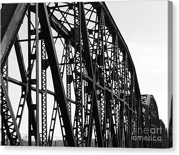 Canvas Print featuring the photograph Red River Train Bridge #4 by Robert ONeil
