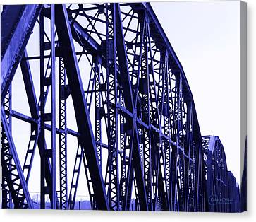 Canvas Print featuring the photograph Red River Train Bridge #5 by Robert ONeil