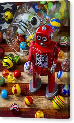 Red Robot And Marbles Canvas Print by Garry Gay