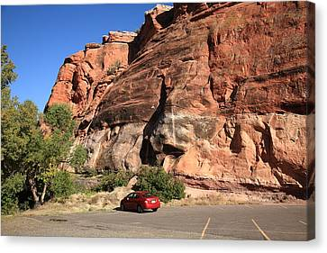 Red Rock And Red Car Canvas Print by Frank Romeo