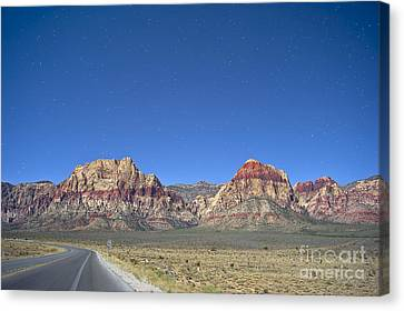 Red Rock Canyon By Moonlight Canvas Print by C Sakura