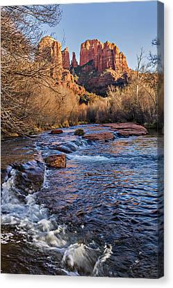 Red Rock Crossing Winter Canvas Print by Mary Jo Allen