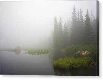 Red Rock Lake And Fog Canvas Print