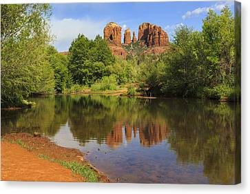 Red Rock Reflection Canvas Print by Mike Lang
