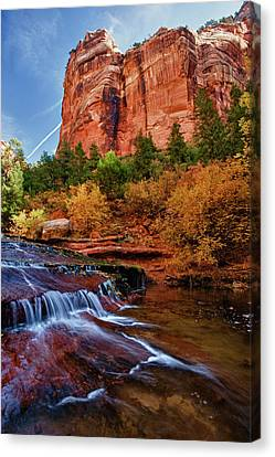 Red Rock, Sandstone Walls And Left Fork Canvas Print by Howie Garber