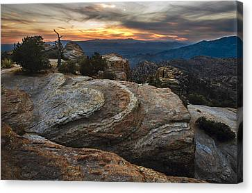 Red Rock Sunset On Mount Lemmon Arizona Canvas Print by Dave Dilli