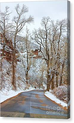 Red Rock Winter Road Portrait Canvas Print by James BO  Insogna