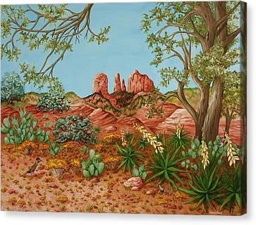 Canvas Print featuring the painting Landscapes Desert Red Rocks Of Sedona Arizona by Katherine Young-Beck