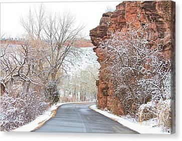 Red Rocks Winter Landscape Drive Canvas Print by James BO  Insogna