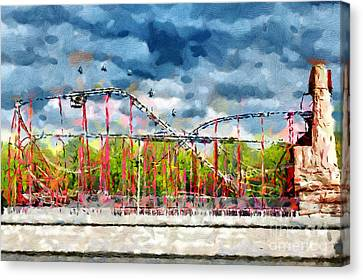 Red Roller Coaster Painting Canvas Print by Magomed Magomedagaev