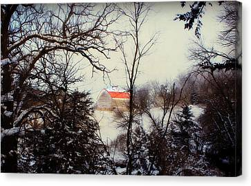 Red Roof Barn Canvas Print by Julie Hamilton