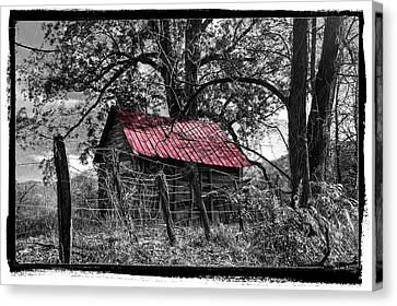 Country Lanes Canvas Print - Red Roof by Debra and Dave Vanderlaan