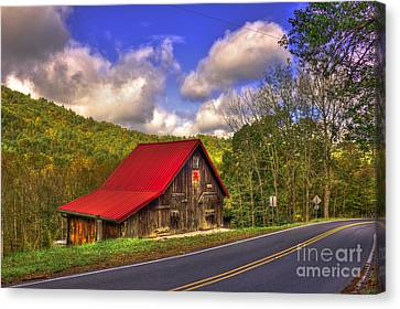Red Roof In The Blue Ridge Mountains Canvas Print