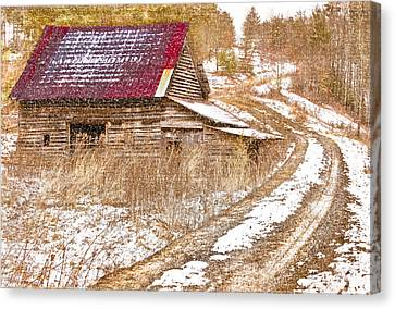Red Roof In The Snow  Canvas Print by Debra and Dave Vanderlaan