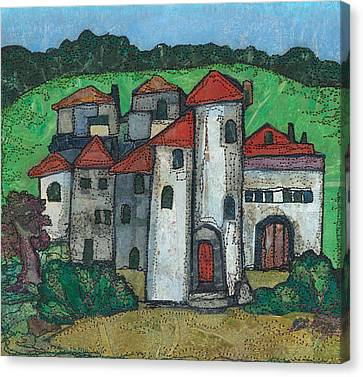 Red Roofed Village Canvas Print