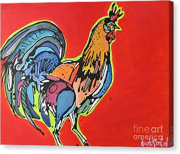 Canvas Print featuring the painting Red Rooster by Nicole Gaitan