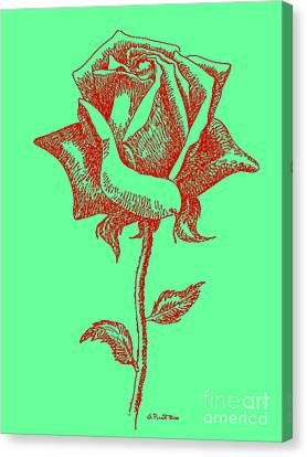 Red Rose Drawings 8 Canvas Print by Gordon Punt