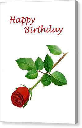 Red Rose Happy Birthday  Canvas Print by Irina Sztukowski