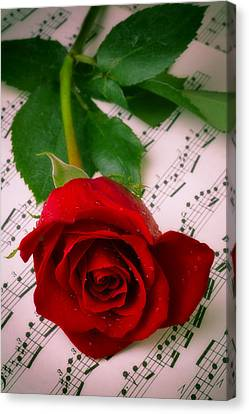 Red Rose On Sheet Music Canvas Print